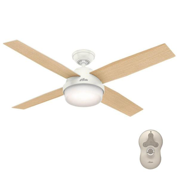 Hunter Dempsey 52 in  LED Indoor Fresh White Ceiling Fan with Light     LED Indoor Fresh White Ceiling Fan with Light Kit and Universal