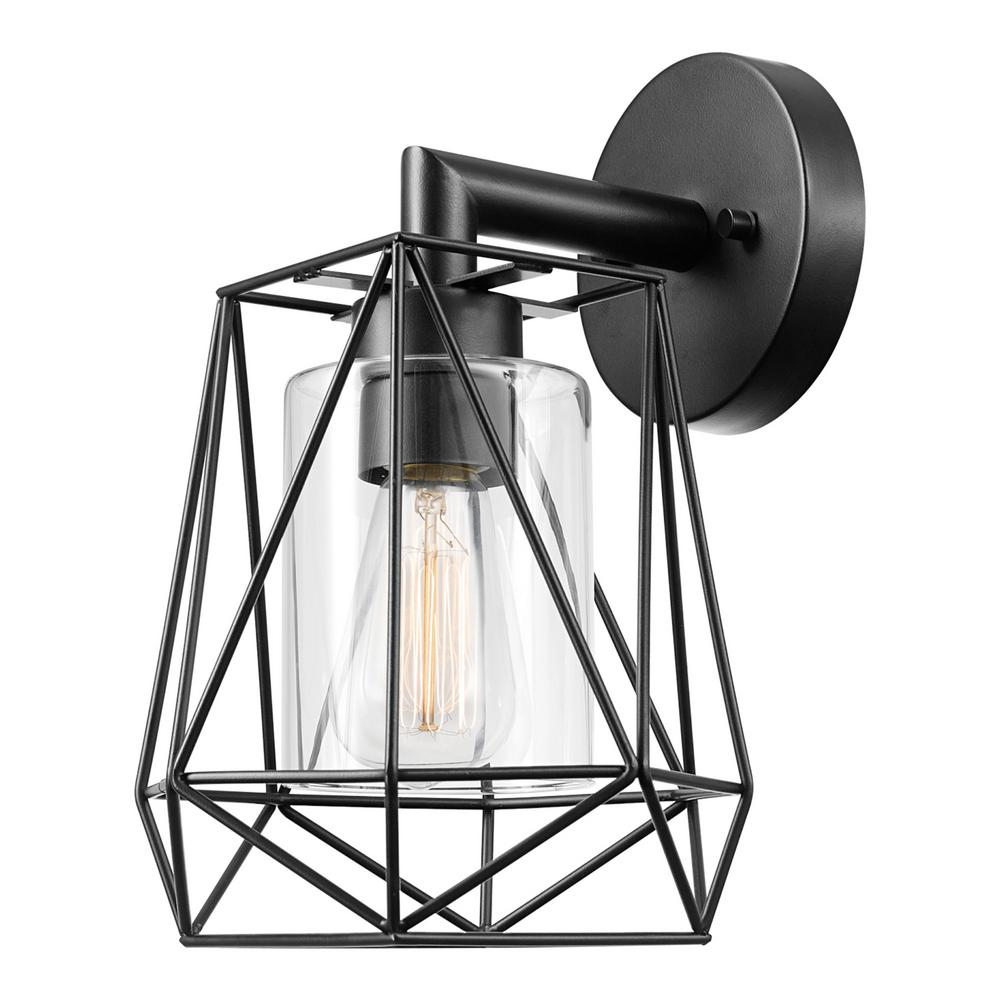 Globe Electric Sansa 1-Light Black Outdoor/Indoor Wall ... on Electric Wall Sconces Indoor id=85399