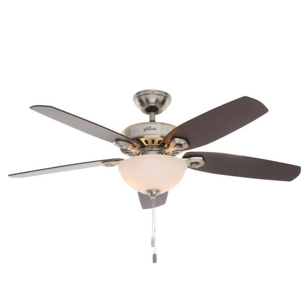 Hunter Builder Deluxe 52 in  Indoor Brushed Nickel Ceiling Fan with     Hunter Builder Deluxe 52 in  Indoor Brushed Nickel Ceiling Fan with Light  Kit