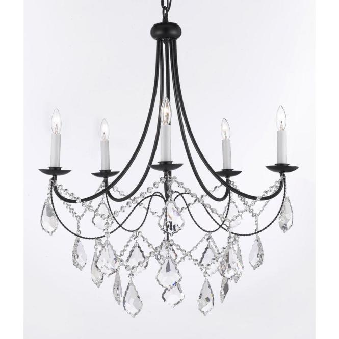 Versailles 5 Light Black Iron Chandelier With Crystal T40 588 The Home Depot