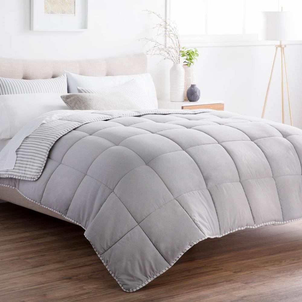 brookside 3 piece coastal gray oversized king comforter set bs90okcgmico the home depot