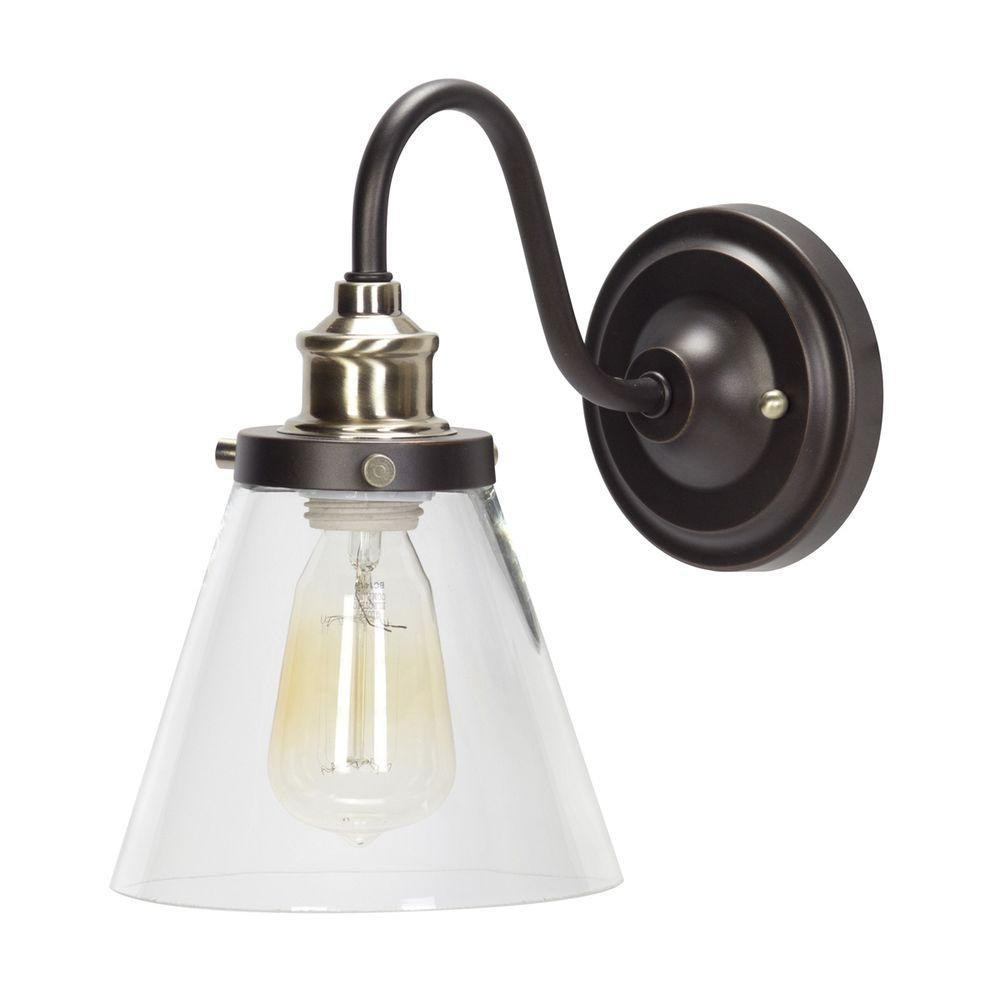 Globe Electric Jackson 1-Light Oil Rubbed Bronze and ... on Brass Wall Sconces Non Electric Lighting id=11631