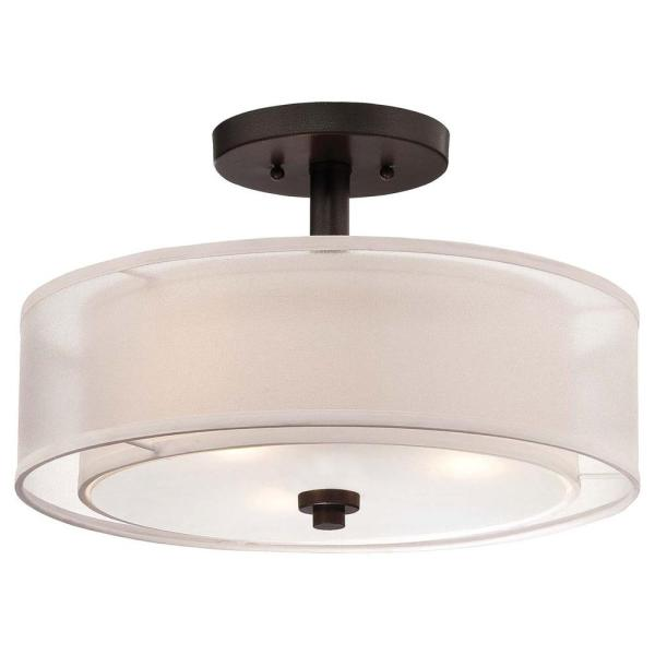 Black   Drum   Semi Flushmount Lights   Lighting   The Home Depot Parsons Studio 3 Light Smoked Iron Semi Flush Mount Light