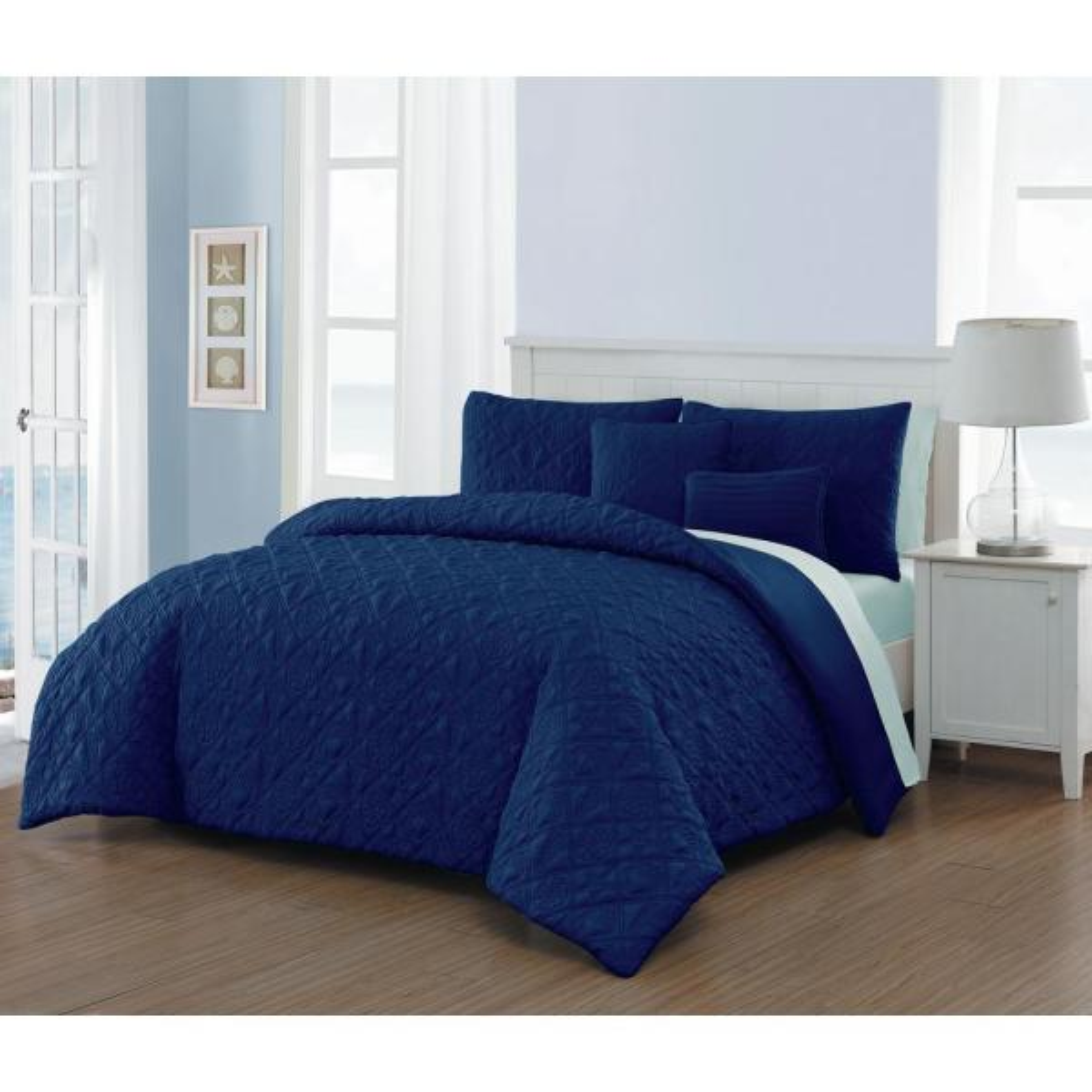 del ray 9 piece navy light blue king comforter set