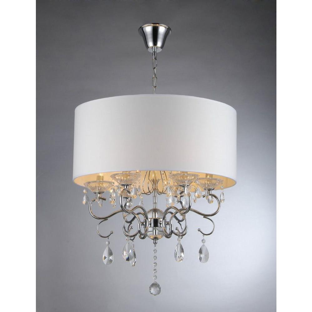Home Decorators Collection 6 Light Chrome Crystal Chandelier 29360     Camilla 6 Light Chrome Crystal Chandelier with Fabric Shade