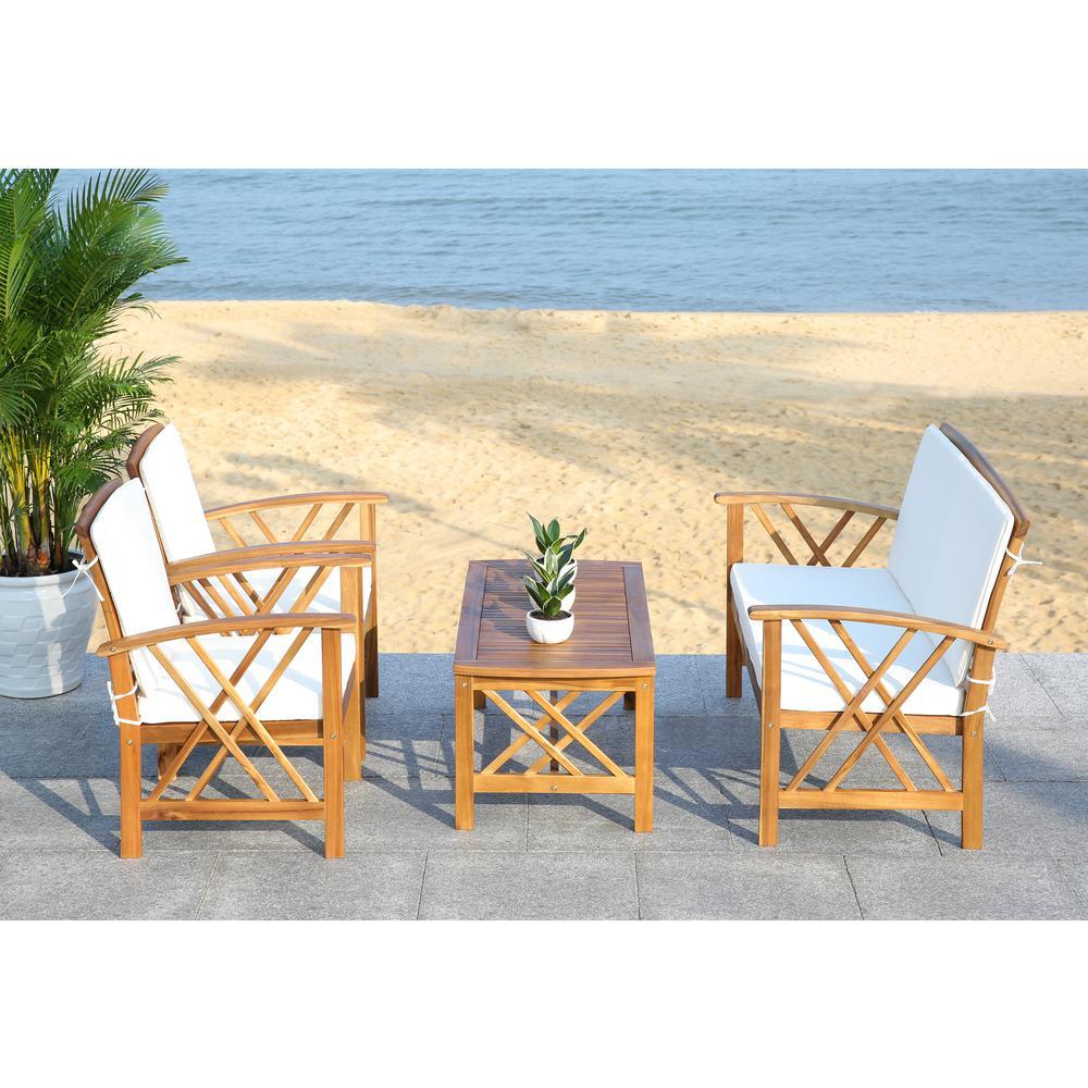 Safavieh Fontana 4 Piece Patio Furniture Set In Grey Wash ... on Fontana 4 Pc Outdoor Set id=89463