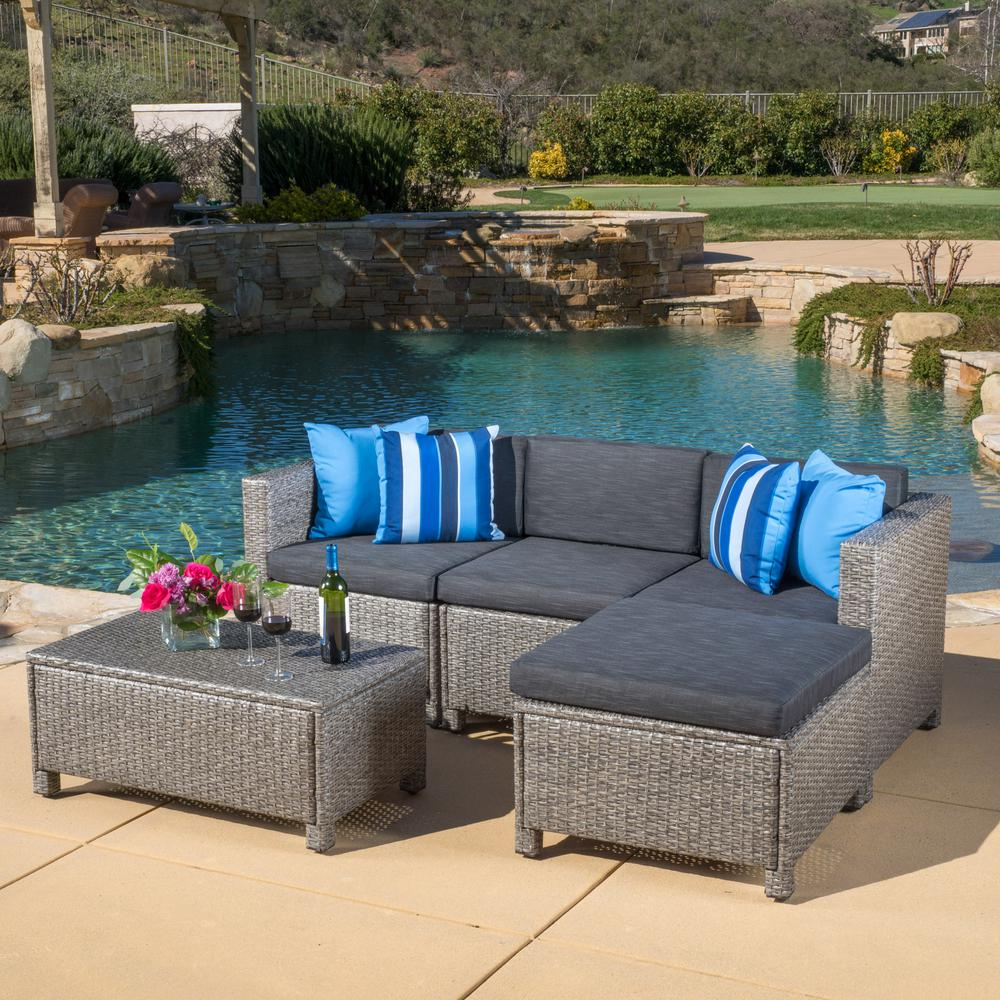 Noble House Puerta Gray 5-Piece Wicker Outdoor Sectional ... on 5 Piece Sectional Patio Set id=44289