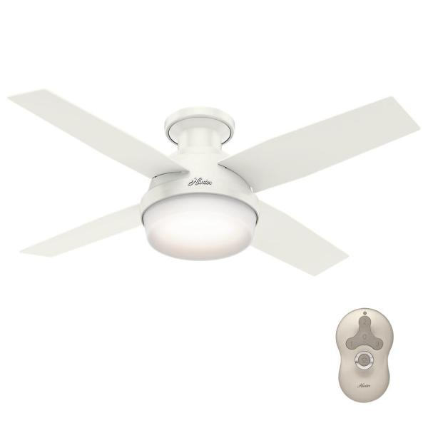 Hunter Dempsey 44 in  Low Profile LED Indoor Brushed Nickel Ceiling     Low Profile LED Indoor Brushed Nickel Ceiling Fan with Light Kit and  Universal Remote 59243   The Home Depot