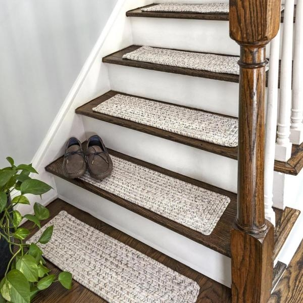 Nuloom Ivory 8 In X 28 In Stair Treads Braided Lefebvre Indoor | Outdoor Stair Treads Home Depot | Anti Slip Stair | Rugs | Non Slip | Tread Covers | Pressure Treated