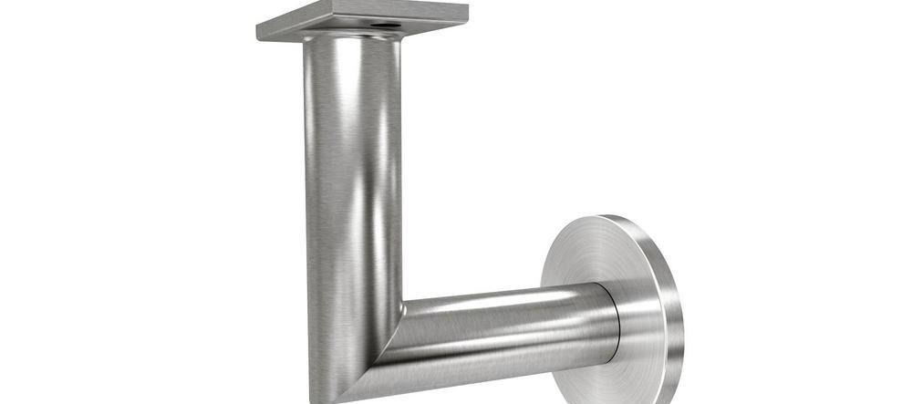 Luminous Quasar 2 5 In Stainless Steel Handrail Wall Bracket Hbwa | Brushed Stainless Steel Handrail | Rectangle | Glass Panel Wooden Handrail | Brushed Chrome | Matte Finish | Flat Bar Steel