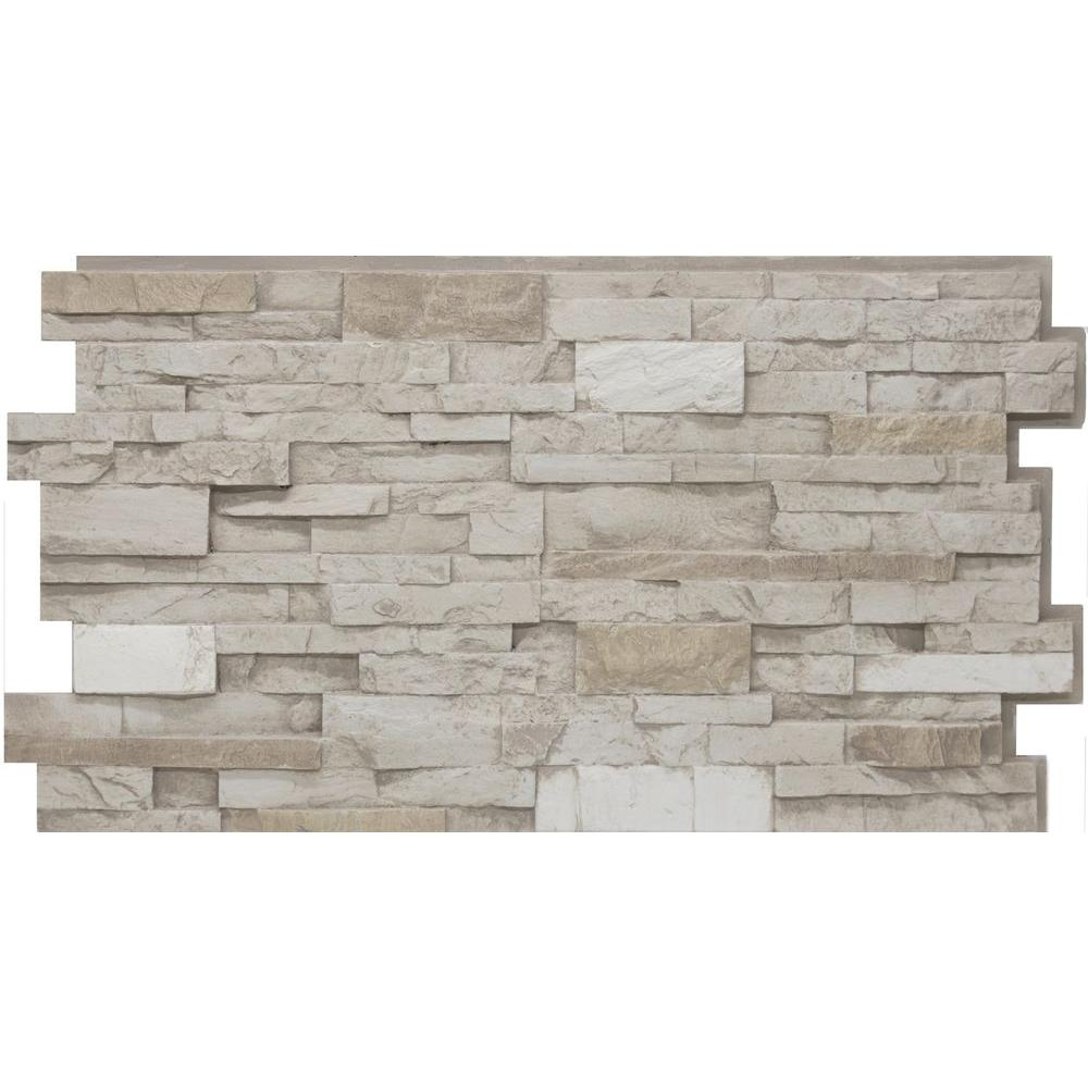 Urestone 24 In X 48 In Stacked Stone 45 Almond Taupe Stone Veneer Panel 00799932569029 The Home Depot
