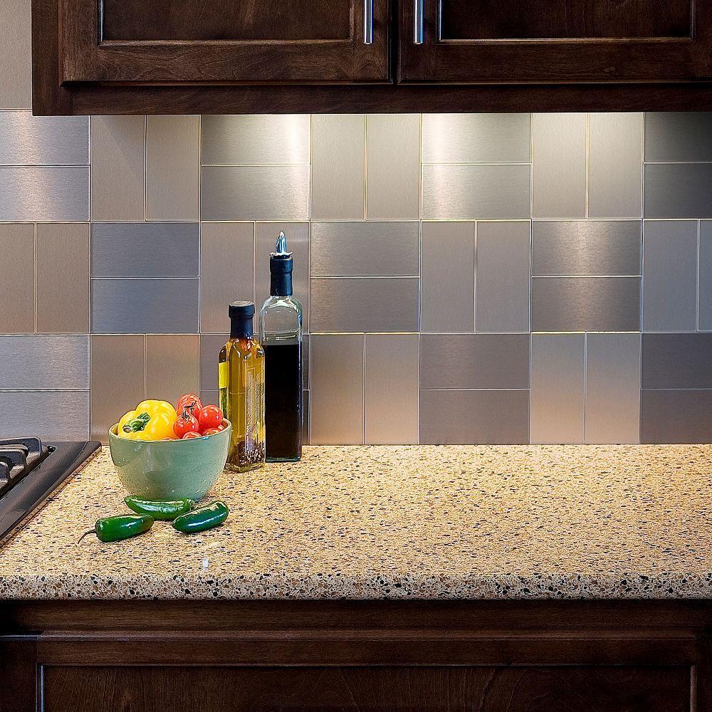 Aspect Short Grain 3 In X 6 In Metal Decorative Tile