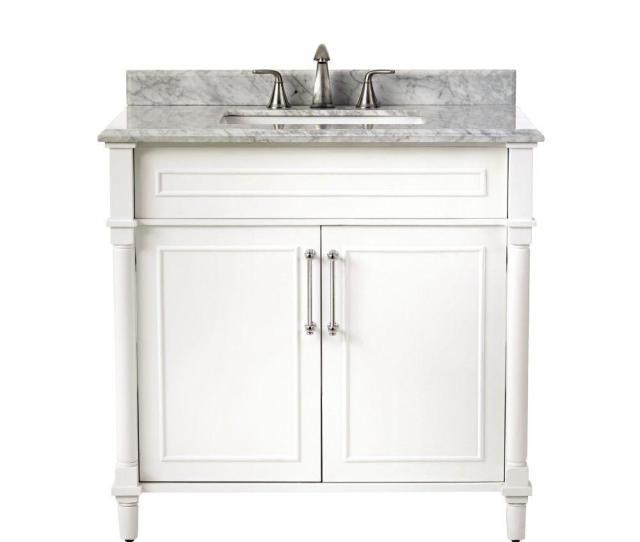 Aberdeen  In W X  In D Single Bath Vanity In White With