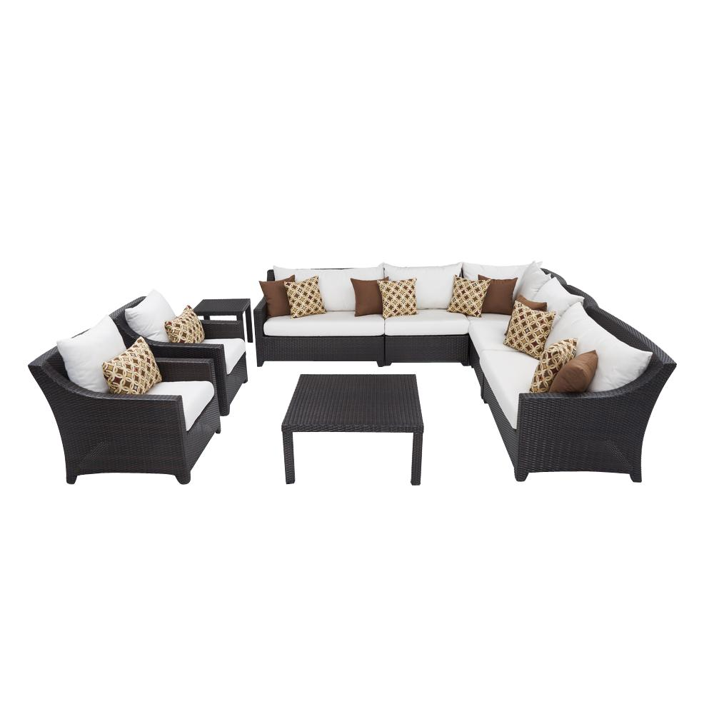 rst brands deco 9 piece patio corner sectional and club chair set with moroccan cream