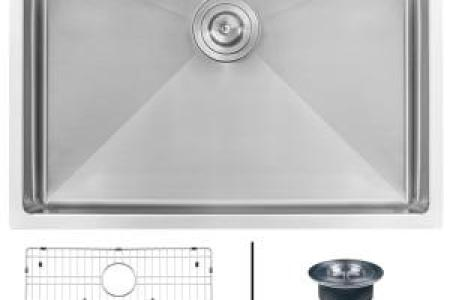 KRAUS Standart PRO Undermount Stainless Steel 26 in  Single Bowl     Undermount Stainless Steel 26 in  Single Bowl Kitchen Sink 16 Gauge