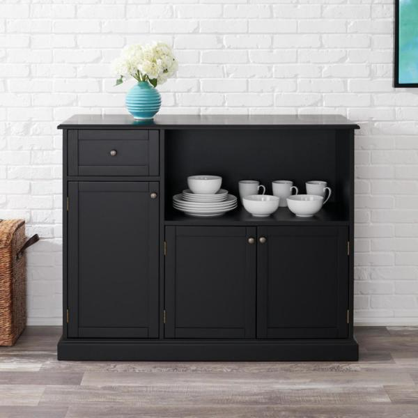 Reviews For Stylewell Stylewell Black Wood Transitional Kitchen Pantry 46 In W X 36 In H Sk19312br1 B The Home Depot
