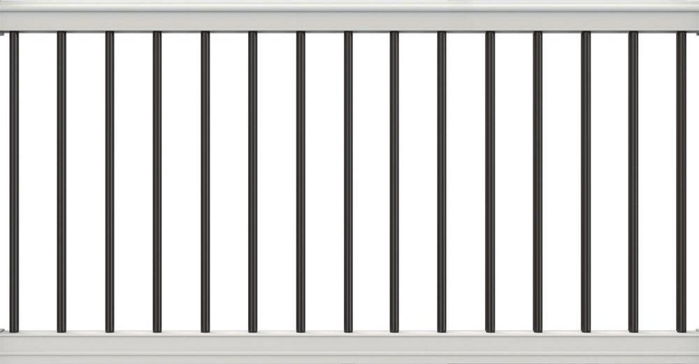 Veranda Premier Series 6 Ft X 36 In White Polycomposite Rail Kit | White Railing Black Spindles | Paint | Wrought Iron | Porch Railing | Iron Balusters | Aluminum Balusters