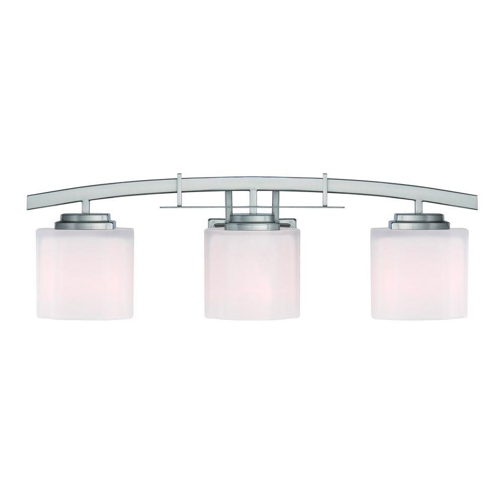 hampton bay architecture 3-light brushed nickel vanity light with