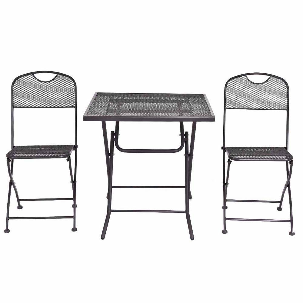 3 piece round table black metal patio