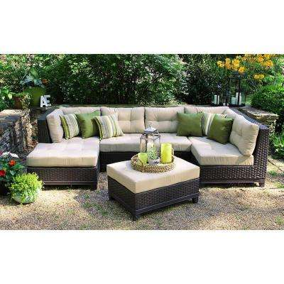Wicker Patio Furniture   Patio Furniture   Outdoors   The Home Depot Hillborough 4 Piece All Weather Wicker Patio Sectional with Sunbrella Fabric