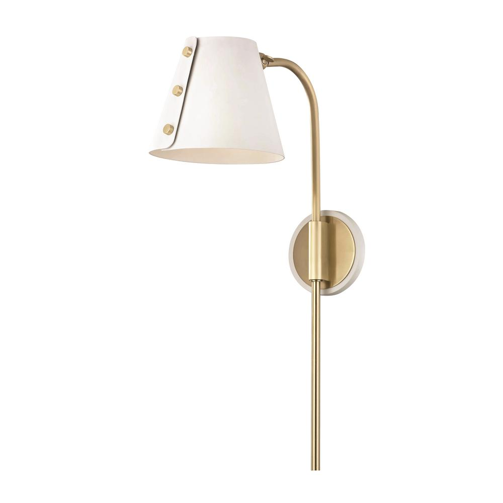 Mitzi by Hudson Valley Lighting Meta 1-Light Aged Brass ... on Brass Wall Sconces Non Electric Lighting id=70492