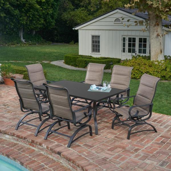 outdoor patio 7 piece dining set Royal Garden River Oak 7-Piece Metal Outdoor Dining Set