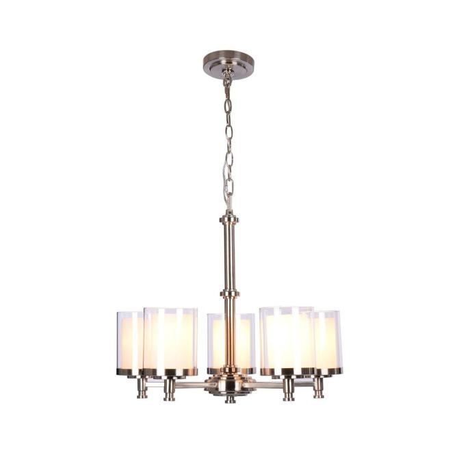 Hampton Bay Burbank 5 Light Brushed Nickel Chandelier With Dual Glass Shades