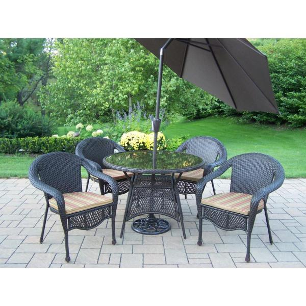 outdoor patio dining sets Hampton Bay Kapolei 7-Piece Wicker Outdoor Dining Set with