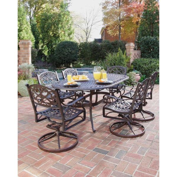 outdoor patio 7 piece dining set Home Styles Biscayne Bronze 7-Piece Swivel Patio Dining