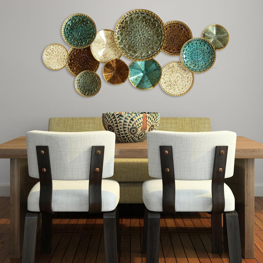 Stratton Home Decor Multi Metal Plate Wall Decor-S01657 ... on Wall Decoration  id=23384