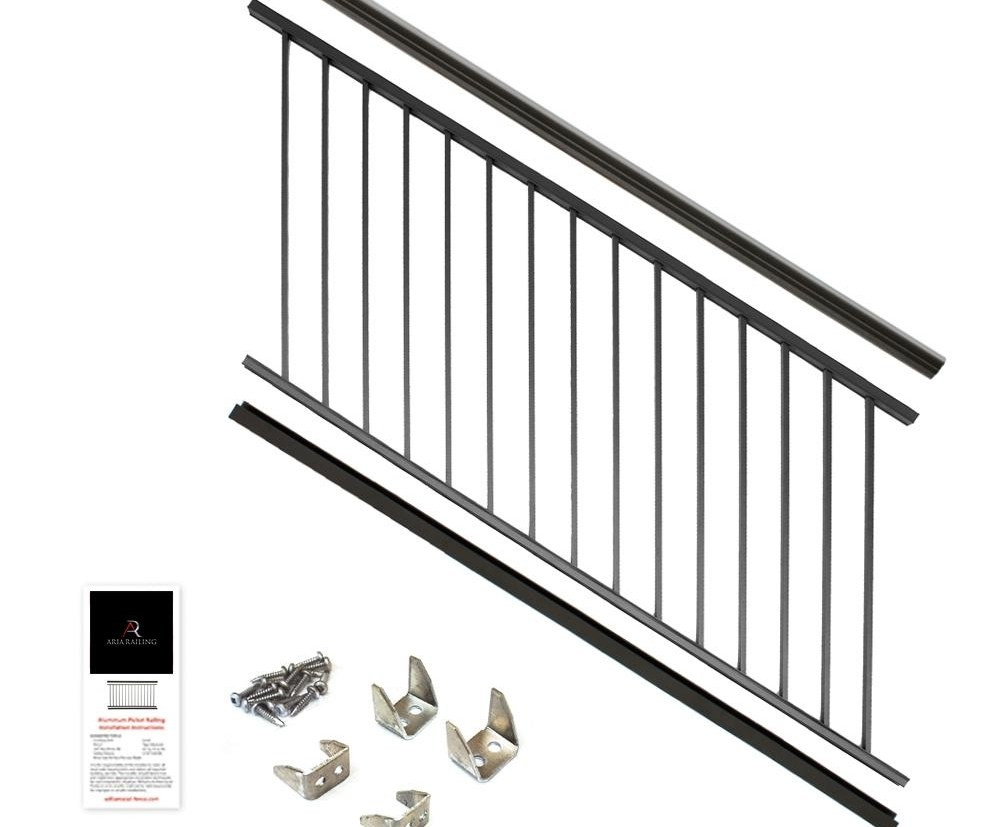 Aria Railing 36 In X 6 Ft Black Powder Coated Aluminum   Prefab Stairs Outdoor Home Depot   Mobile Homes   Stair Stringer   Patio   Precast Concrete Steps   Deck Railing