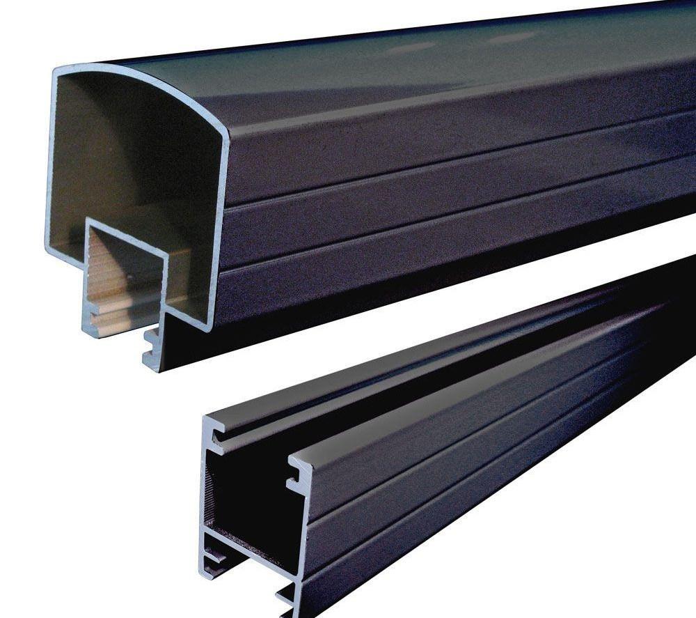 Peak Aluminum Railing 6 Ft Black Aluminum Hand And Base Rail | Home Depot Handrails For Outdoor Steps | Wrought Iron Stair | Pressure Treated | Porch Railings | Metal | Railing Ideas