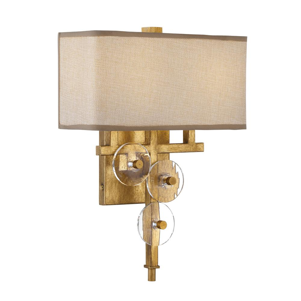 Varaluz Rogue Decor Engeared 2-Light Antiqued Gold Leaf ... on Wall Sconce Lighting Decor id=28321