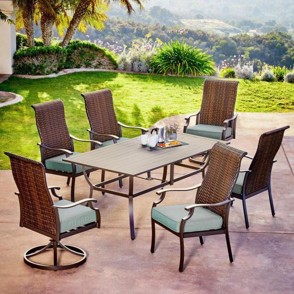 7 piece outdoor wicker patio dining sets Royal Garden Rhone Valley 7-Piece Wicker Outdoor Dining
