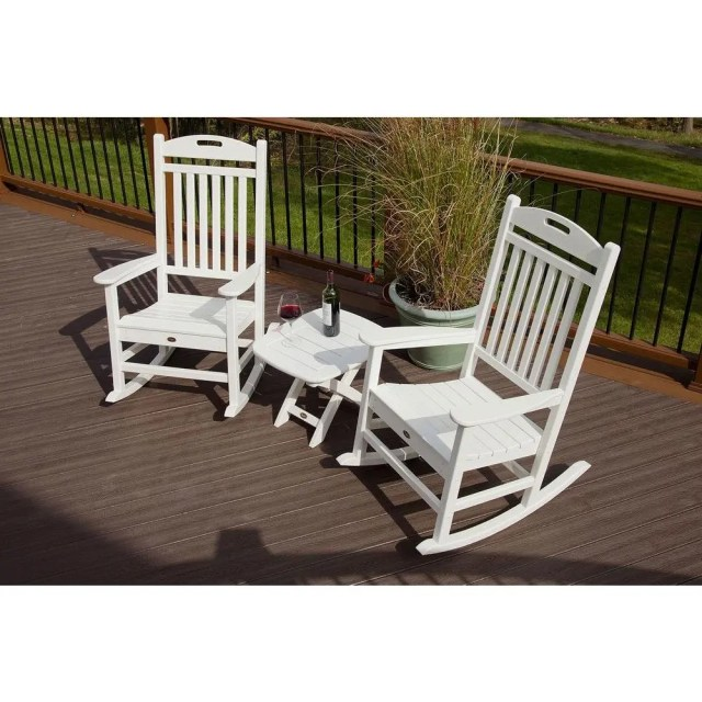trex outdoor furniture yacht club classic white 3-piece patio rocker