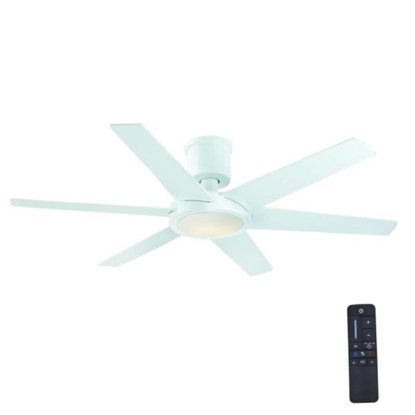 Home Decorators Collection Clermont 52 in  LED Indoor Glossy White     Home Decorators Collection Clermont 52 in  LED Indoor Glossy White Ceiling  Fan with Light Kit