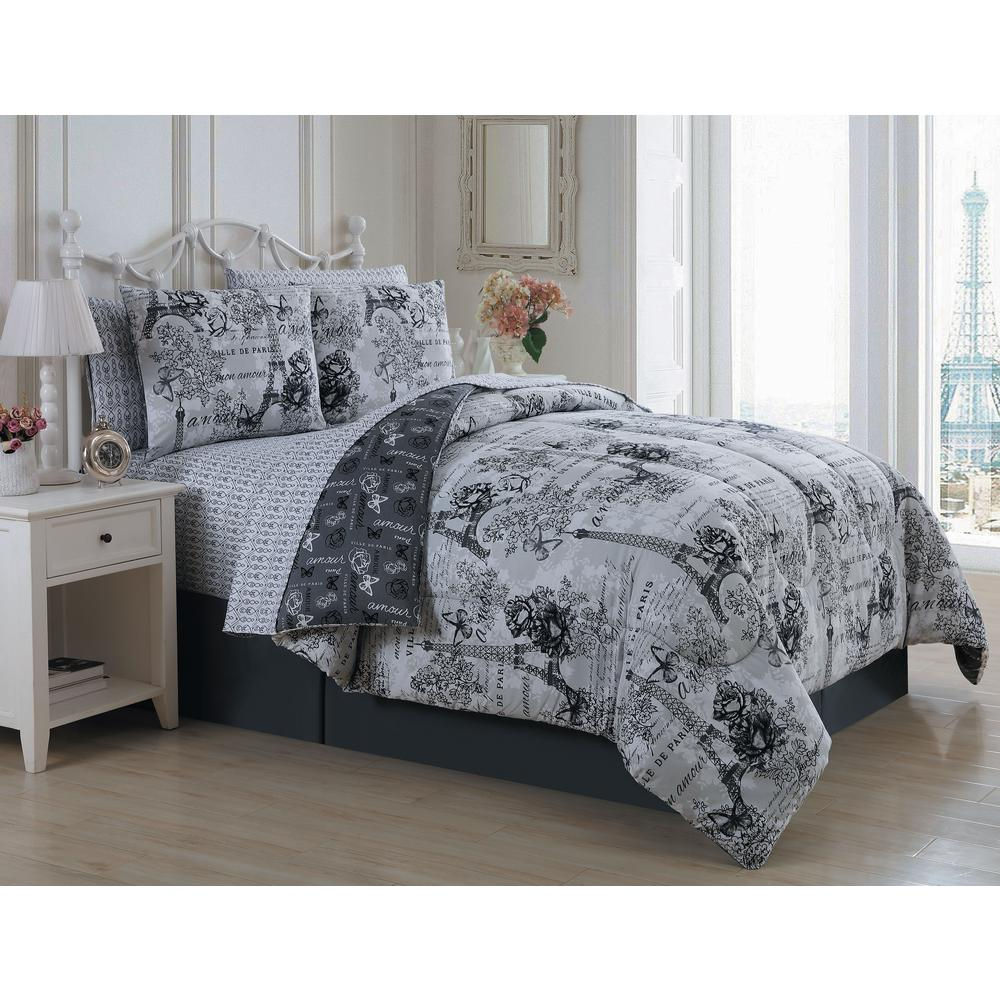 unbranded amour 6 piece black white twin comforter set amu6bbtwinghbw the home depot