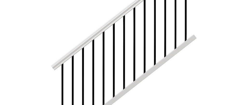Veranda Traditional 6 Ft X 36 In White Polycomposite Stair Rail | Black Metal Stair Railing | Minimalist Simple Stair | Craftsman Style | Brushed Nickel | Rustic | Horizontal