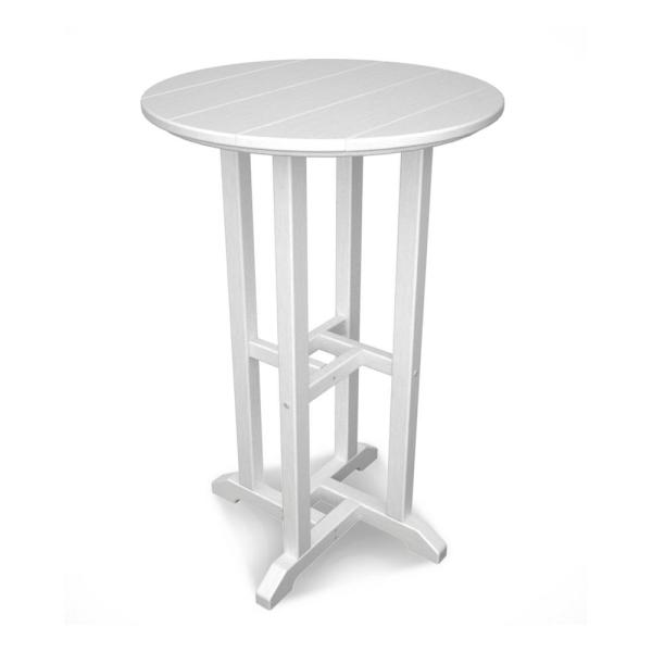 outdoor patio bar height tables POLYWOOD Traditional White Outdoor Patio Bar Height Dining