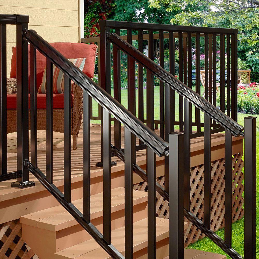 Peak Aluminum Railing Black 6 Ft Aluminum Stair Hand And Base | Metal Stair Railing Home Depot | Cast Iron Handrail | Porch Railings | Spindles | Balusters | Aluminum Railing