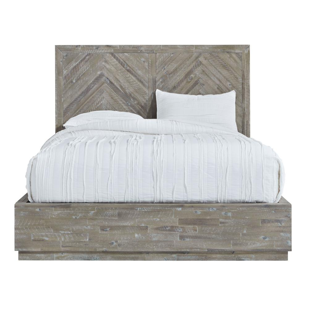 modus furniture herringbone light wood rustic latte queen storage bed with hidden footboard drawers 5qs3p5 the home depot