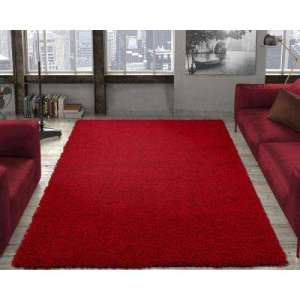 Modern   Red   5 X 7   Area Rugs   Rugs   The Home Depot Contemporary Solid Dark Red 5 ft  x 7 ft  Shag Area Rug