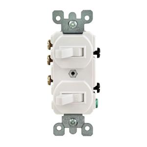 Leviton 15 Amp 3Way Double Toggle Switch, WhiteR6205241