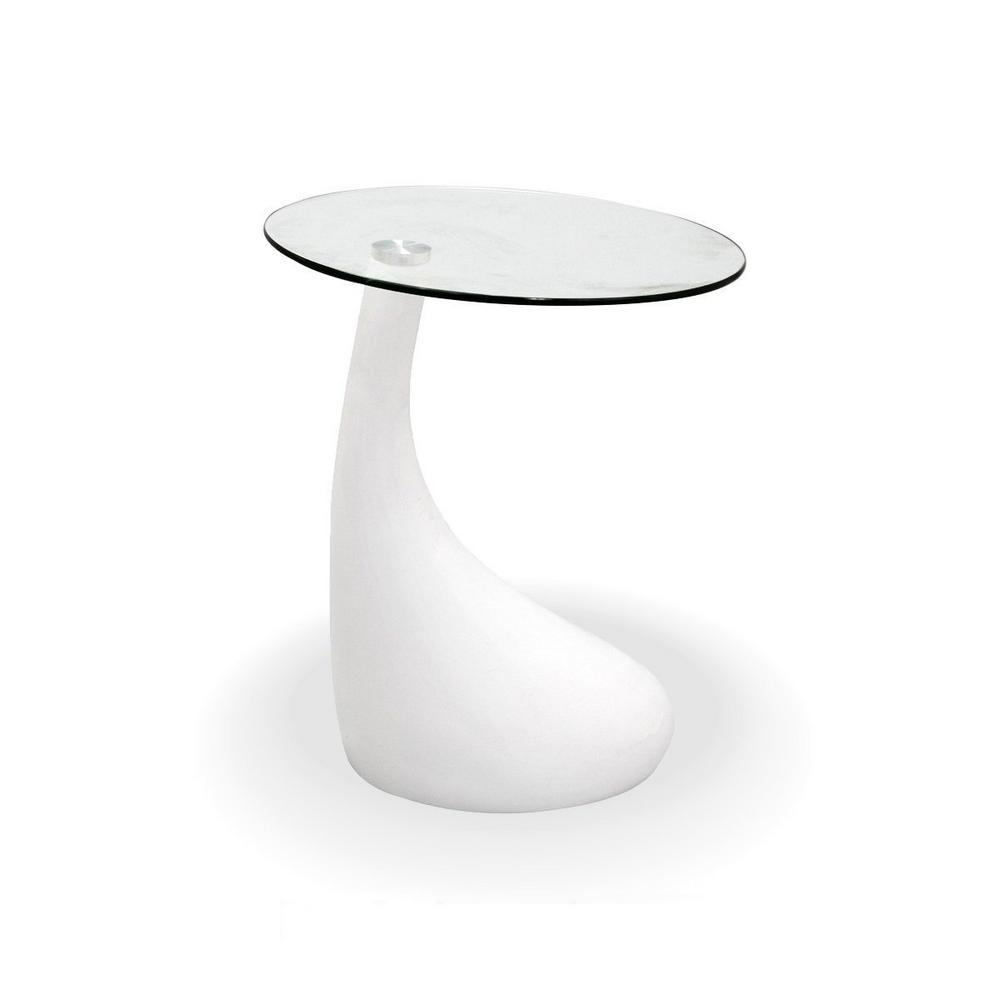 fab glass and mirror teardrop side table white color with 18 in round glass top ctw fab2300 the home depot