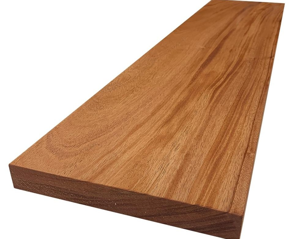 Swaner Hardwood 2 In X 12 In X 8 Ft African Mahogany S4S Board | African Mahogany Stair Treads | Handrail | Cutting Board | Plank | Oak | Mahogany Wood Stair