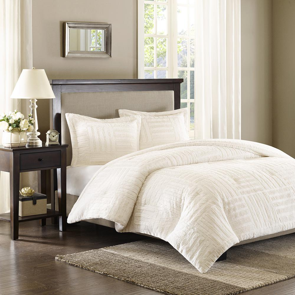 unbranded polar 3 piece ivory full queen comforter set basi10 0254 the home depot
