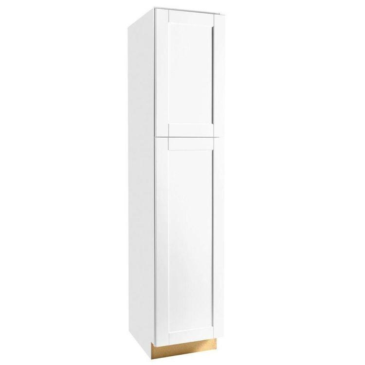 Hampton Bay Shaker Assembled 18x84x24 In Pantry Kitchen Cabinet In Satin White Kpx1884 Ssw The Home Depot