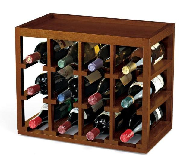 Wine Enthusiast 12 Bottle Cube Stack Wine Rack In Walnut Stain  The Home Depot