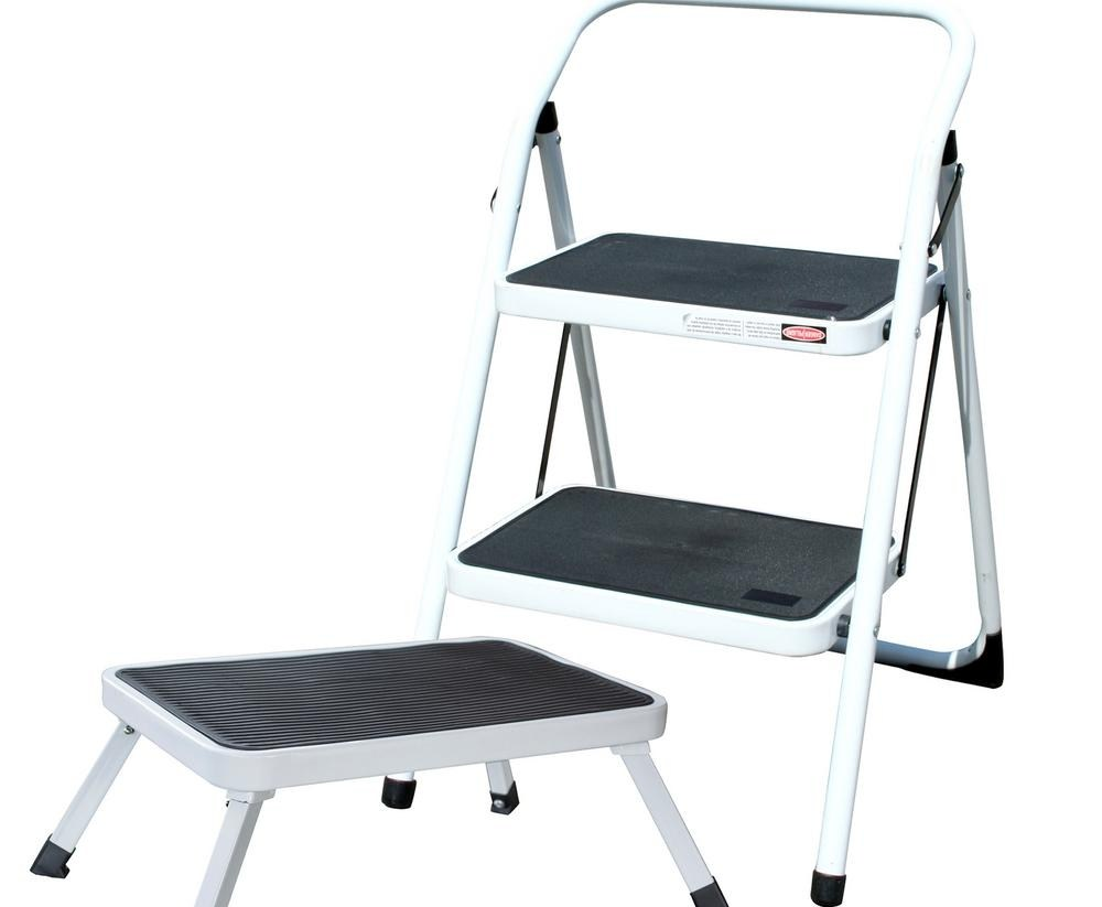 Amerihome 2 Step Metal Folding Mini Step Ladder With 1 Step | Metal Steps Home Depot | Roofing | Galvanized Steel | Step Stool | Gorilla Ladders | Wrought Iron Railings