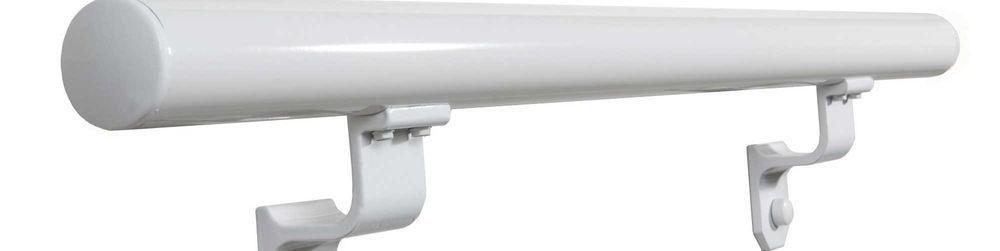 Ez Handrail 6 Ft White Aluminum Round Straight Hand Rail Kit | Home Depot Outside Handrails | Treated Lumber | Deck | Metal | Composite | Staircase